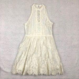 Free People White High Neck Eyelash Lace Dress